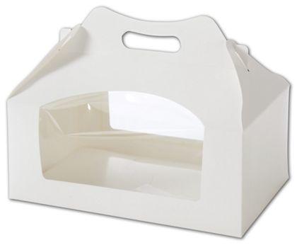 White Windowed Cupcake Gable Boxes, 6 Cupcakes