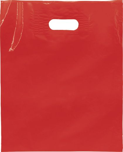 Red Low Density Patch Handle Bags, 12 x 15""