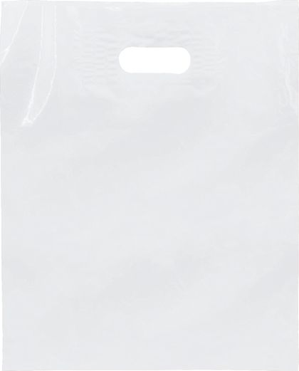 """White Low Density Patch Handle Bags, 12 x 15"""""""