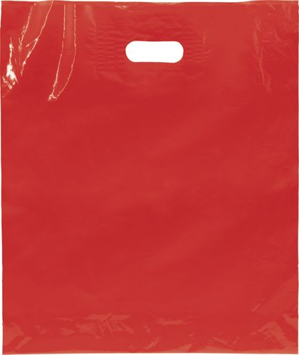 "Red Low Density Patch Handle Bags, 15 x 18"" + 4"" BG"
