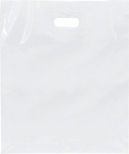"""White Low Density Patch Handle Bags, 15 x 18"""" + 4"""" BG"""