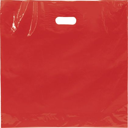 "Red Low Density Patch Handle Bags, 18 x 18"" + 4"" BG"