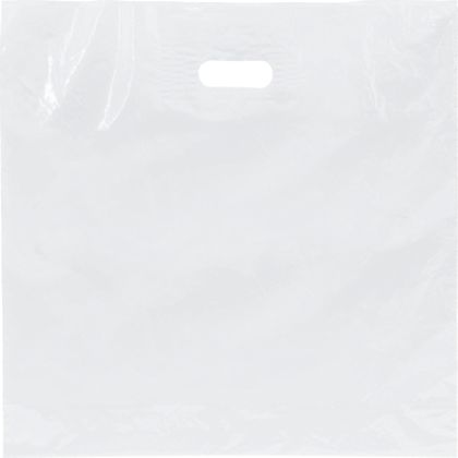 "White Low Density Patch Handle Bags, 18 x 18"" + 4"" BG"