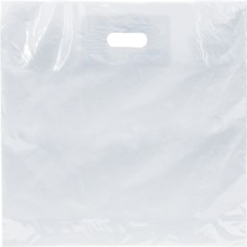 Clear Low Density Patch Handle Bags, 18 x 18
