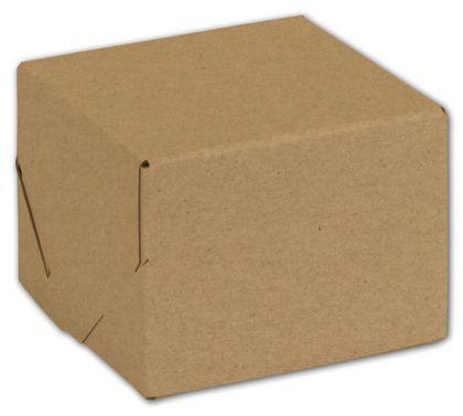"Natural Kraft Two-Piece Expandable Boxes, 4 x 4 x 3"""