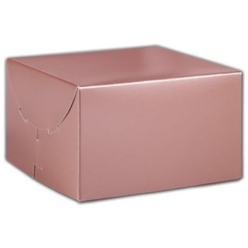 Rose Gold Tinted Boxes, 6 1/2 x 6 1/2 x 4""