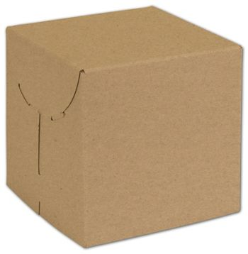 Natural Kraft Two-Piece Expandable Boxes, 6 x 6 x 6