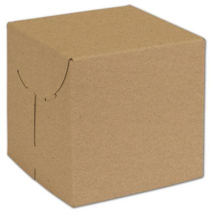 "Natural Kraft Two-Piece Expandable Boxes, 6 x 6 x 6"""