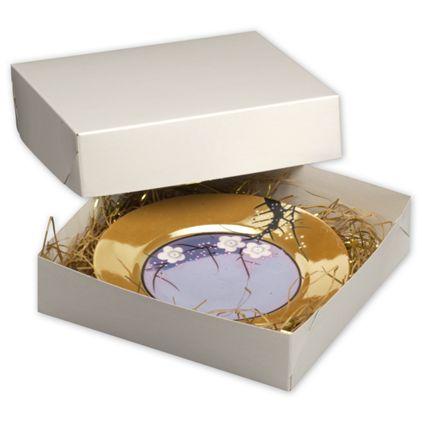 """White Two-Piece Gift Boxes, 8 x 8 x 2"""""""