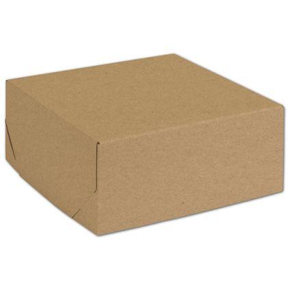 "Natural Kraft Two-Piece Expandable Boxes, 8 x 8 x 3 1/2"""