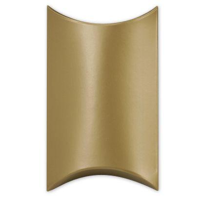 "Satin Gold Pillow Boxes, 3 1/2 x 3 x 1"""