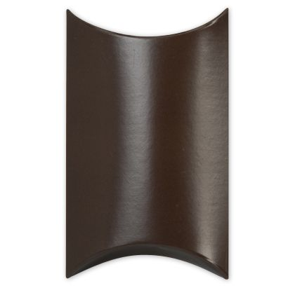 Satin Brown Pillow Boxes, 3 1/2 x 3 x 1""