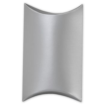 Satin Silver Pillow Boxes, 3 1/2 x 3 x 1