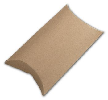 Kraft Pillow Boxes, 3 1/2 x 3 x 1