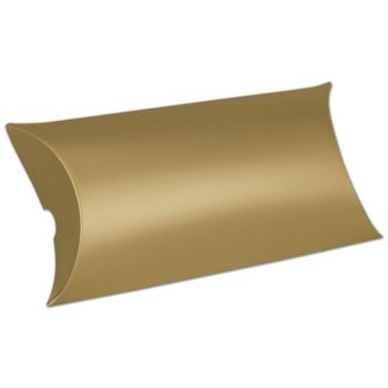 Satin Gold Pillow Boxes, 7 x 5 x 2