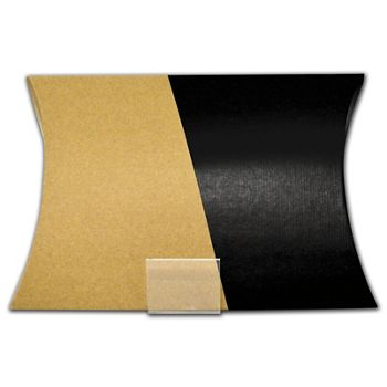 """Kraft and Black Corrugated Pillow Boxes, 9 x 2 x 12"""""""