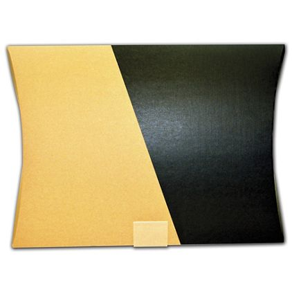 """Kraft and Black Corrugated Pillow Boxes, 14 1/4 x 2 x 19"""""""