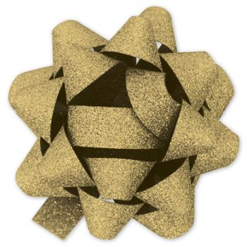 Gold Metallic Glitter Jeweler's Bows, 18 Loops, 1 3/8