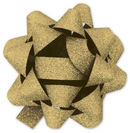 "Gold Metallic Glitter Jeweler's Bows, 18 Loops, 1 3/8"" Bow"