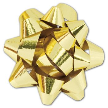 Metallic Gold Jeweler's Size Star Bow, 16 Loops, 1 1/4