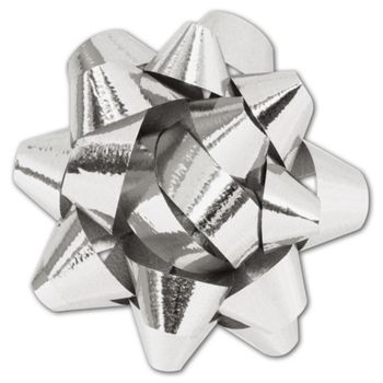 Metallic Silver Jeweler's Size Star Bow,16 Loops,1 1/4