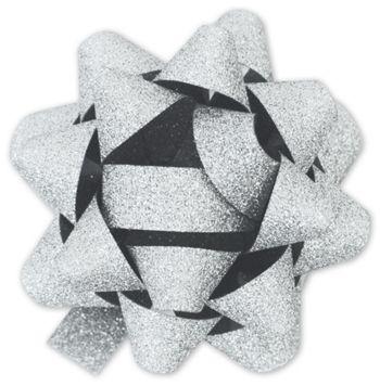 Silver Metallic Glitter Jeweler's Bows, 18 Loops, 1 3/8