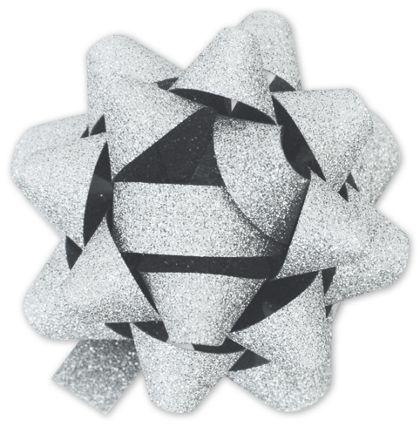 "Silver Metallic Glitter Jeweler's Bows, 18 Loops, 1 3/8"""