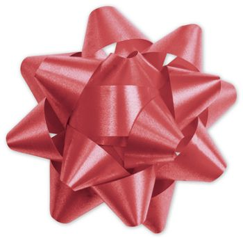 Red Splendorette Star Bows, 15 Loops, 3 3/4