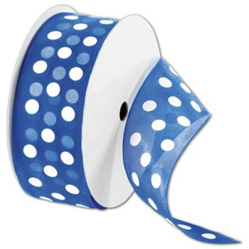 "Sheer Royal Ribbon with White Dots, 1 1/2"" x 25 Yds"