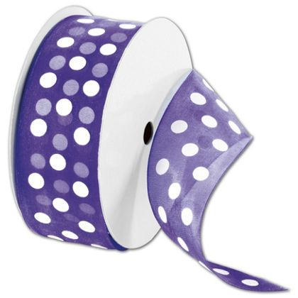 "Sheer Purple Ribbon with White Dots, 1 1/2"" x 25 Yds"