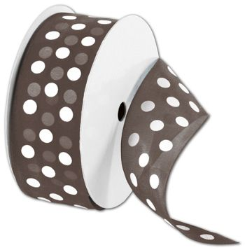 Sheer Brown Ribbon with White Dots, 1 1/2