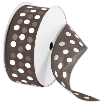 "Sheer Brown Ribbon with White Dots, 1 1/2"" x 25 Yds"