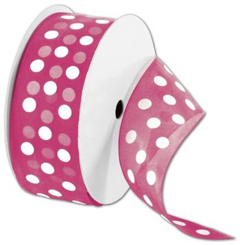 Sheer Pink Ribbon with White Dots, 1 1/2