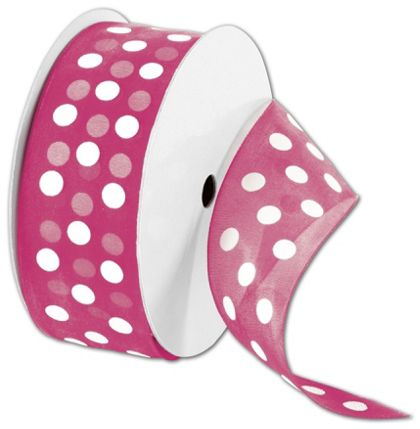 "Sheer Pink Ribbon with White Dots, 1 1/2"" x 25 Yds"