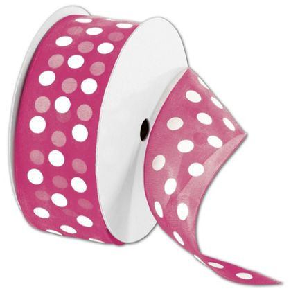 """Sheer Pink Ribbon with White Dots, 1 1/2"""" x 25 Yds"""