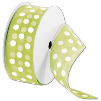"Sheer Kiwi Ribbon with White Dots, 1 1/2"" x 25 Yds"