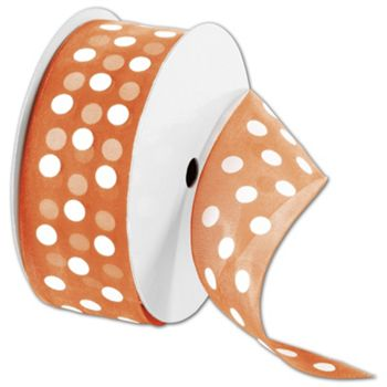 Sheer Orange Ribbon with White Dots, 1 1/2