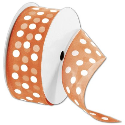"Sheer Orange Ribbon with White Dots, 1 1/2"" x 25 Yds"