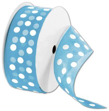 "Sheer Turquoise Ribbon with White Dots, 1 1/2"" x 25 Yds"