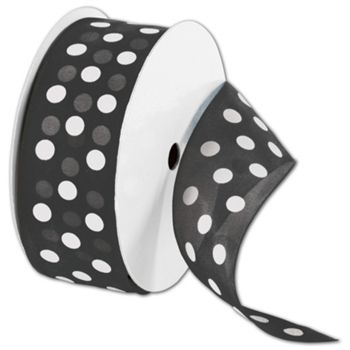 "Sheer Black Ribbon with White Dots, 1 1/2"" x 25 Yds"