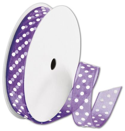 "Sheer Purple Ribbon with White Dots, 5/8"" x 25 Yds"