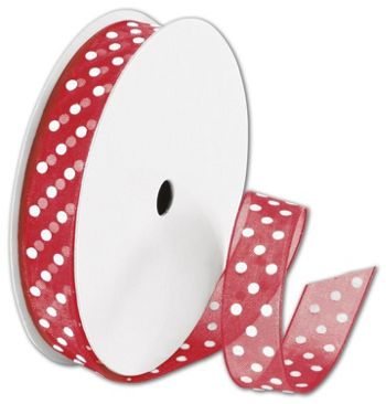 Sheer Red Ribbon with White Dots, 5/8