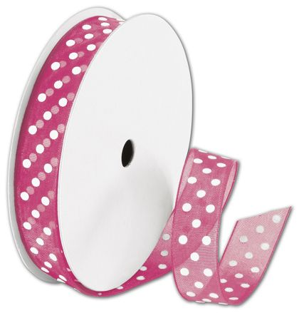 "Sheer Pink Ribbon with White Dots, 5/8"" x 25 Yds"
