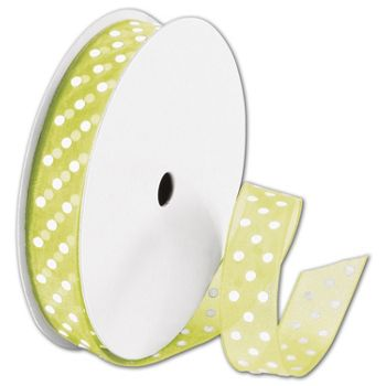 Sheer Kiwi Ribbon with White Dots, 5/8