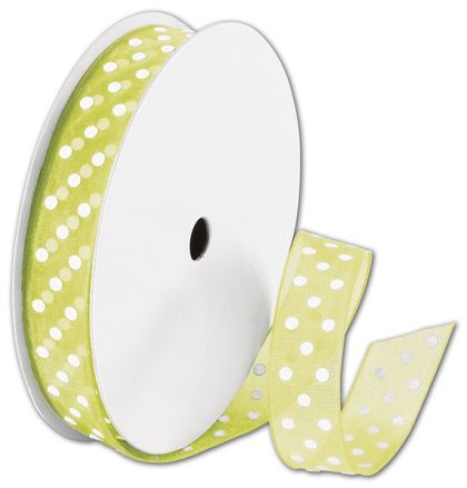 "Sheer Kiwi Ribbon with White Dots, 5/8"" x 25 Yds"