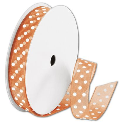 "Sheer Orange Ribbon with White Dots, 5/8"" x 25 Yds"