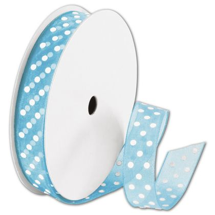 """Sheer Turquoise Ribbon with White Dots, 5/8"""" x 25 Yds"""