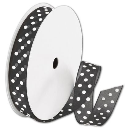 "Sheer Black Ribbon with White Dots, 5/8"" x 25 Yds"