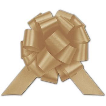 Gold Satin Perfect Pull Bows, 18 Loops, 4""