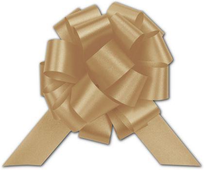 "Gold Satin Perfect Pull Bows, 18 Loops, 4"""